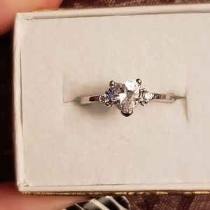 Sz3 STERLING SILVER Heart CZ ring for child/small